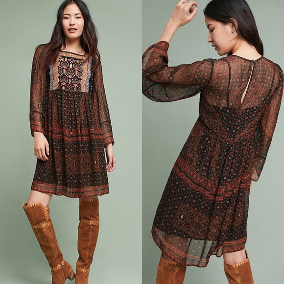 Anthropologie Dresses & Skirts - Akemi + Kin Munro Embroidered Tunic Dress SOLD